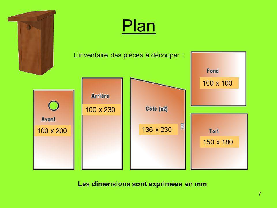 7 Plan 100 x 100 150 x 180 136 x 230 100 x 230 100 x 200 Linventaire des pièces à découper : Les dimensions sont exprimées en mm