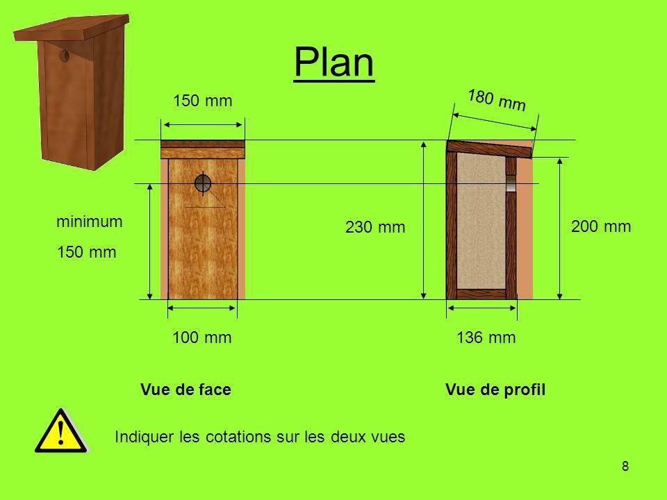 8 Plan Vue de faceVue de profil Indiquer les cotations sur les deux vues 230 mm minimum 150 mm 100 mm136 mm 150 mm 180 mm 200 mm