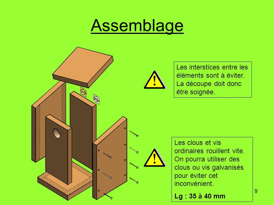 9 Assemblage Les clous et vis ordinaires rouillent vite. On pourra utiliser des clous ou vis galvanisés pour éviter cet inconvénient. Lg : 35 à 40 mm