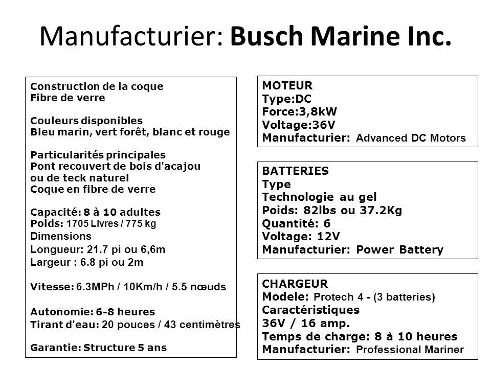 Manufacturier: Busch Marine Inc. Construction de la coque Fibre de verre Couleurs disponibles Bleu marin, vert forêt, blanc et rouge Particularités pr