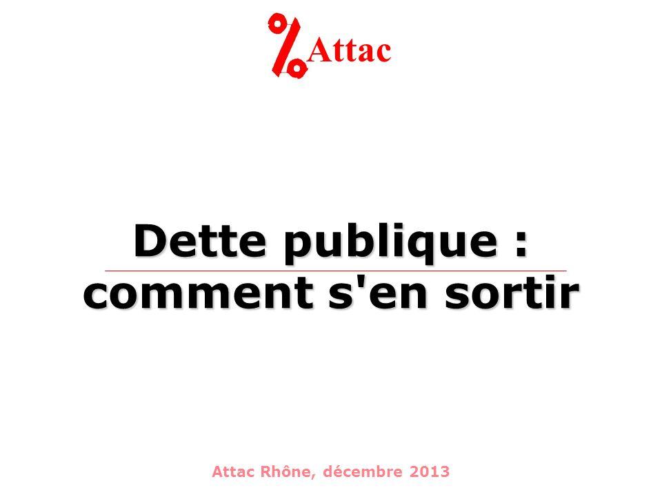 Dette publique : comment s en sortir Attac Attac Rhône, décembre 2013