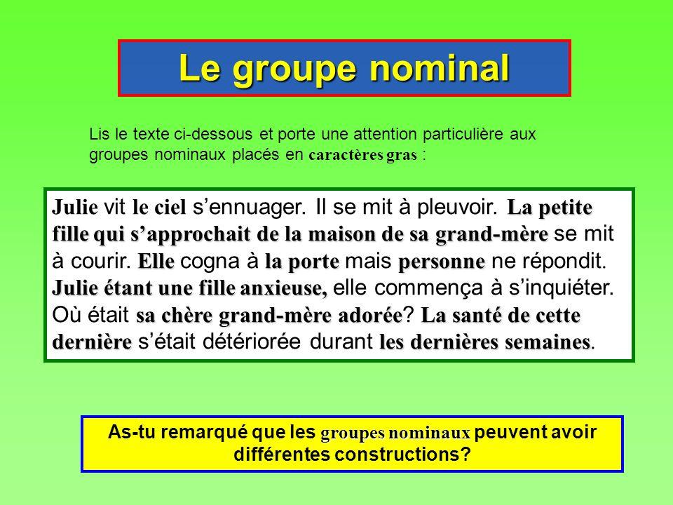 Le groupe nominal Lis le texte ci-dessous et porte une attention particulière aux groupes nominaux placés en caractères gras : groupes nominaux As-tu