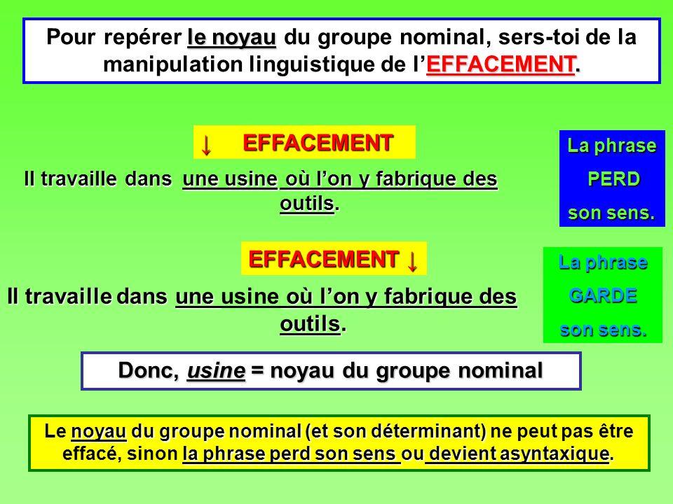 le noyau EFFACEMENT. Pour repérer le noyau du groupe nominal, sers-toi de la manipulation linguistique de lEFFACEMENT. noyau du groupe nominal (et son