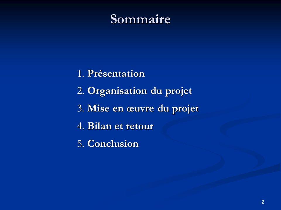 2 Sommaire 2. Organisation du projet 3. Mise en œuvre du projet 1. Présentation 4. Bilan et retour 5. Conclusion