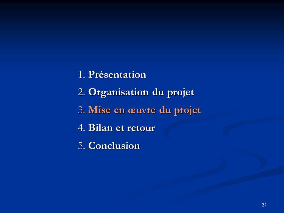 31 2. Organisation du projet 3. Mise en œuvre du projet 1. Présentation 4. Bilan et retour 5. Conclusion