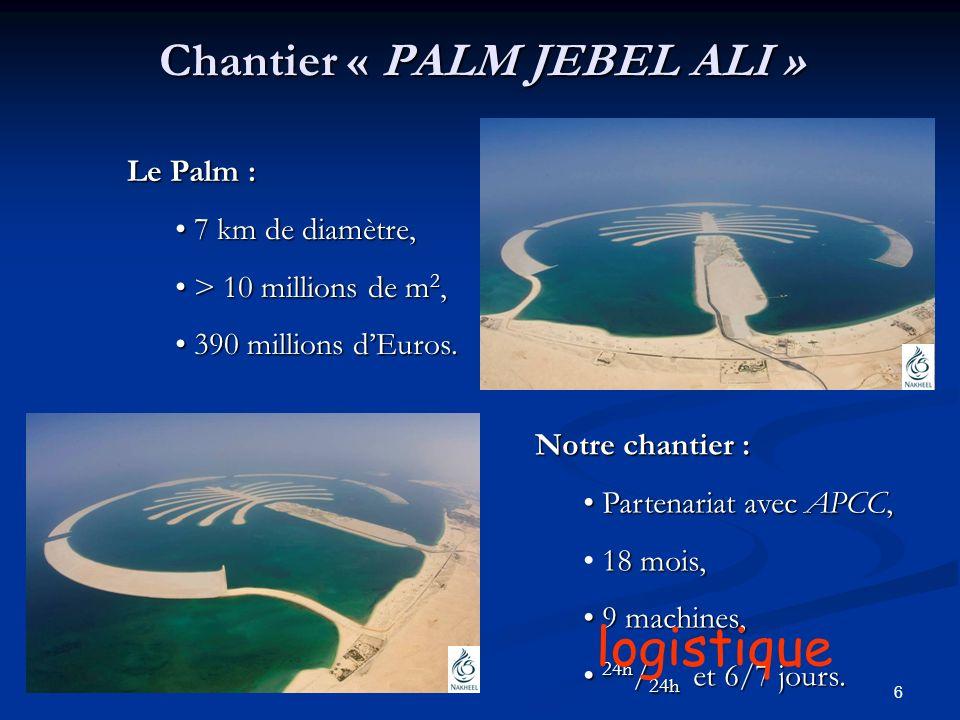 6 Chantier « PALM JEBEL ALI » Le Palm : 7 7 km de diamètre, > > 10 millions de m2, 3 390 millions dEuros. Notre chantier : P Partenariat avec APCC, 18