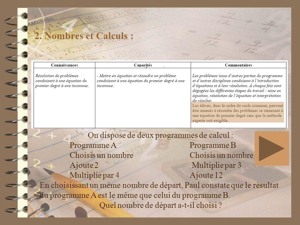2. Nombres et Calculs : On dispose de deux programmes de calcul : Programme AProgramme B Choisis un nombre Ajoute 2 Multiplie par 3 Multiplie par 4Ajo