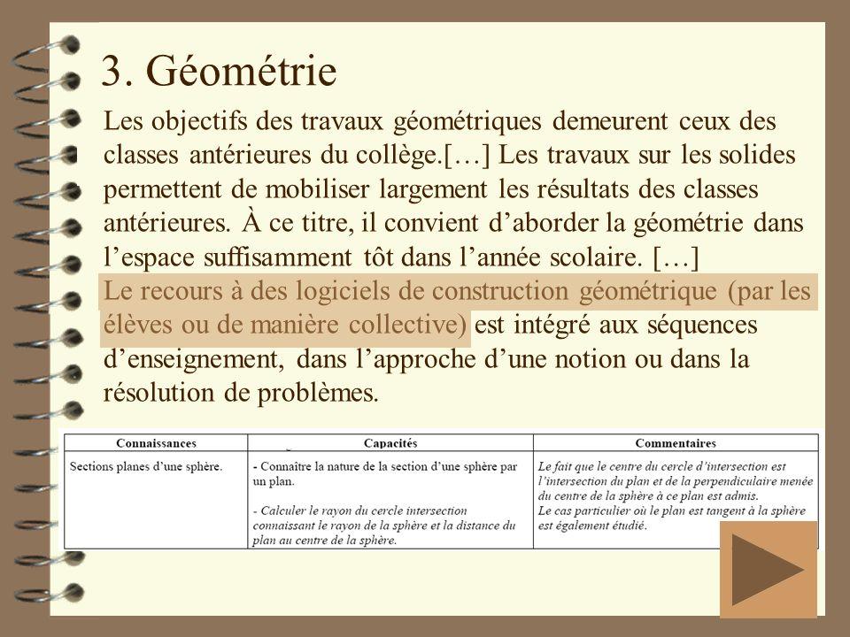 3. Géométrie Les objectifs des travaux géométriques demeurent ceux des classes antérieures du collège.[…] Les travaux sur les solides permettent de mo