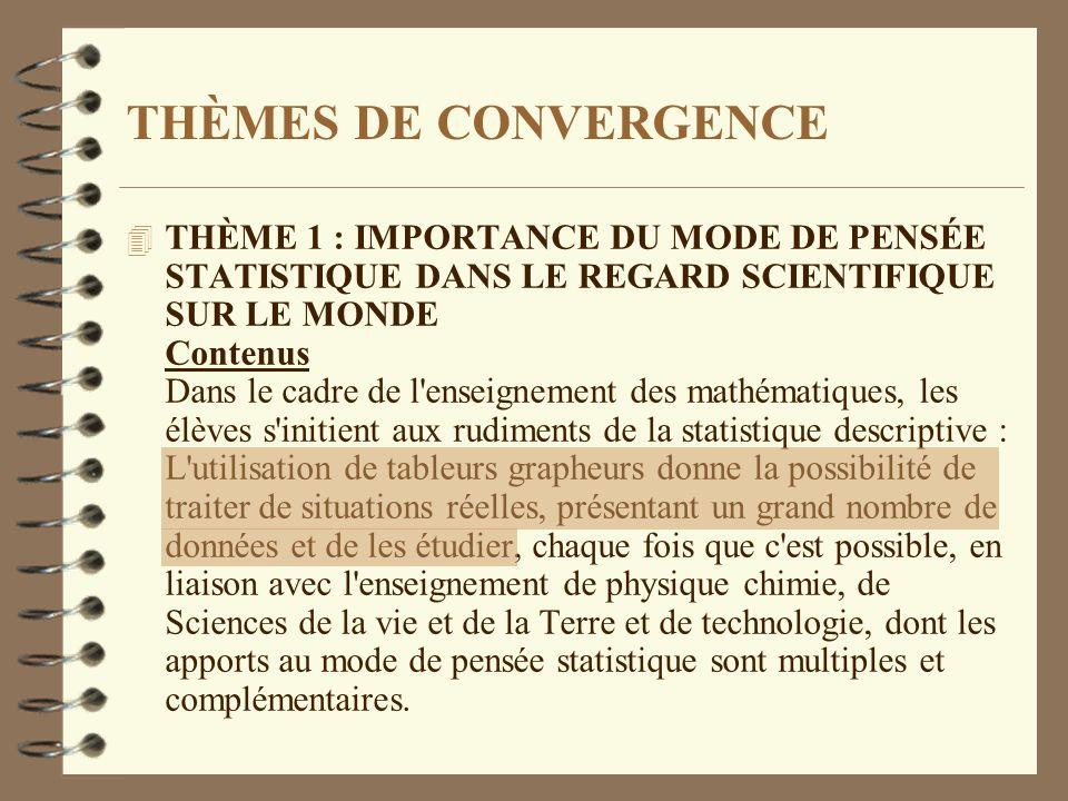 THÈMES DE CONVERGENCE 4 THÈME 1 : IMPORTANCE DU MODE DE PENSÉE STATISTIQUE DANS LE REGARD SCIENTIFIQUE SUR LE MONDE Contenus Dans le cadre de l'enseig