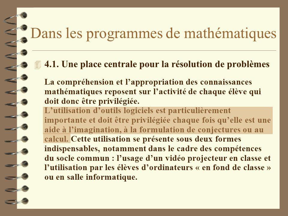Dans les programmes de mathématiques 4 4.1. Une place centrale pour la résolution de problèmes La compréhension et lappropriation des connaissances ma