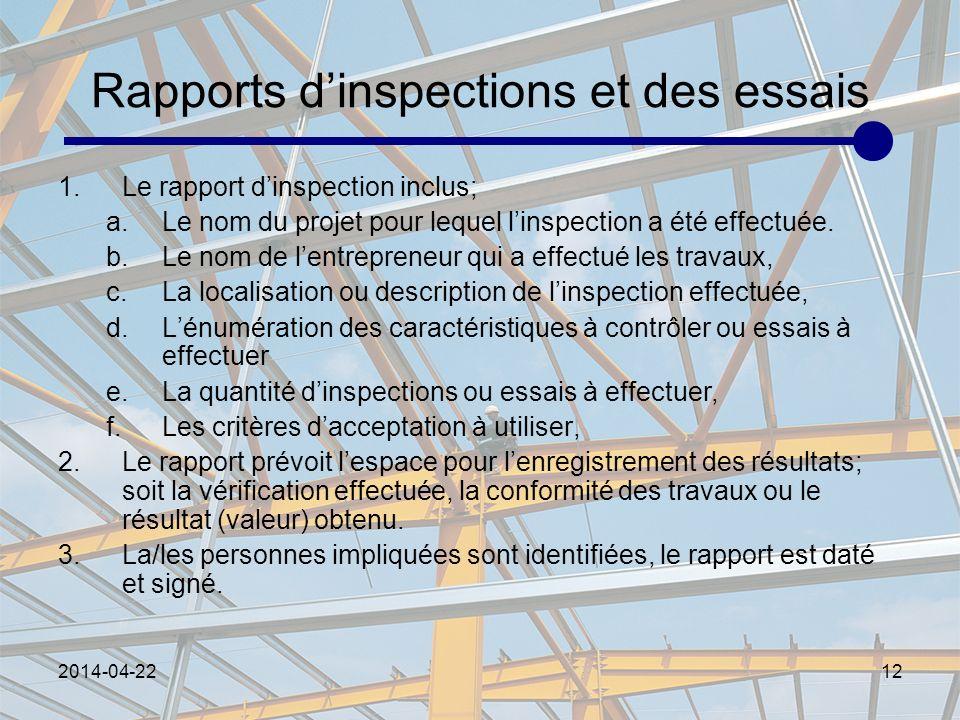 2014-04-2212 Rapports dinspections et des essais 1.Le rapport dinspection inclus; a.Le nom du projet pour lequel linspection a été effectuée. b.Le nom