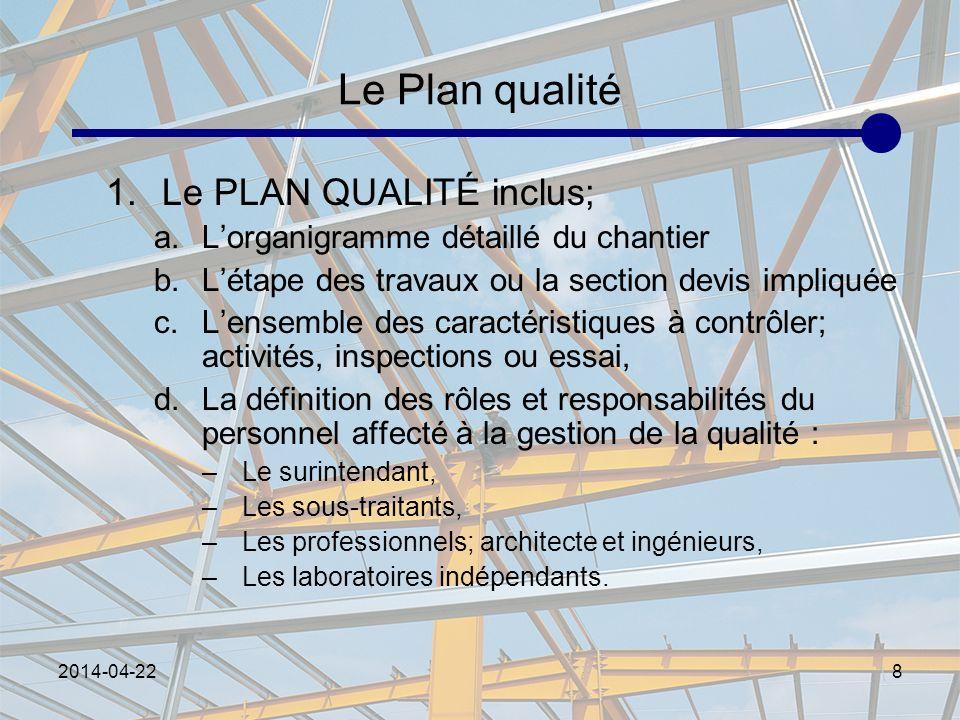 2014-04-228 Le Plan qualité 1.Le PLAN QUALITÉ inclus; a.Lorganigramme détaillé du chantier b.Létape des travaux ou la section devis impliquée c.Lensem