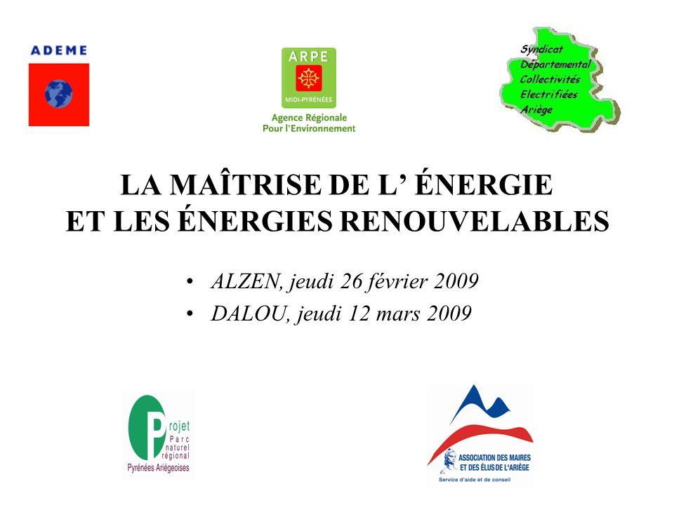 LA MAÎTRISE DE L ÉNERGIE ET LES ÉNERGIES RENOUVELABLES ALZEN, jeudi 26 février 2009 DALOU, jeudi 12 mars 2009