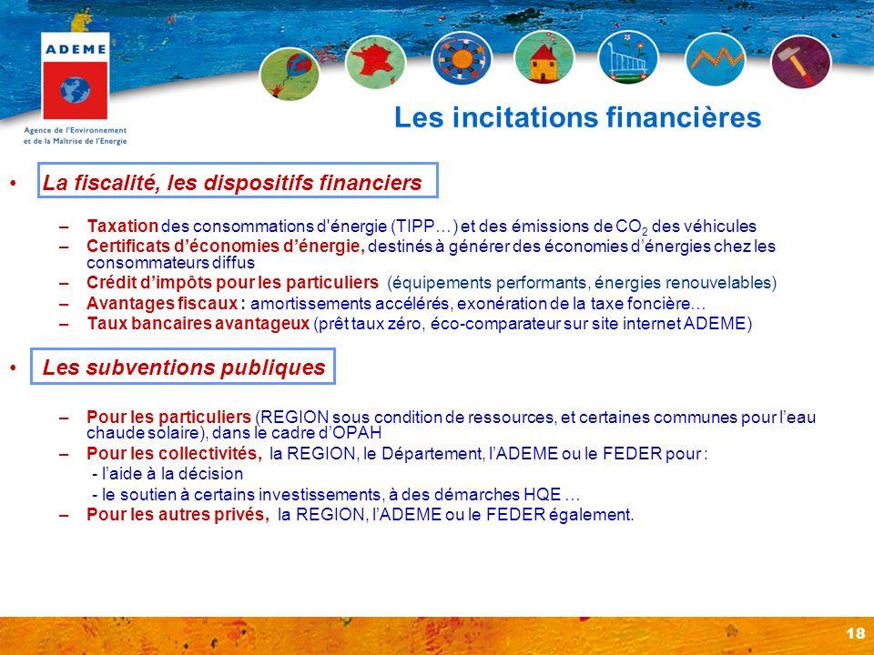 18 Les incitations financières La fiscalité, les dispositifs financiers –Taxation des consommations d'énergie (TIPP…) et des émissions de CO 2 des véh