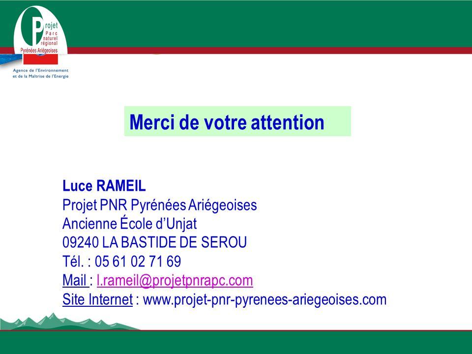 Luce RAMEIL Projet PNR Pyrénées Ariégeoises Ancienne École dUnjat 09240 LA BASTIDE DE SEROU Tél. : 05 61 02 71 69 Mail : l.rameil@projetpnrapc.coml.ra