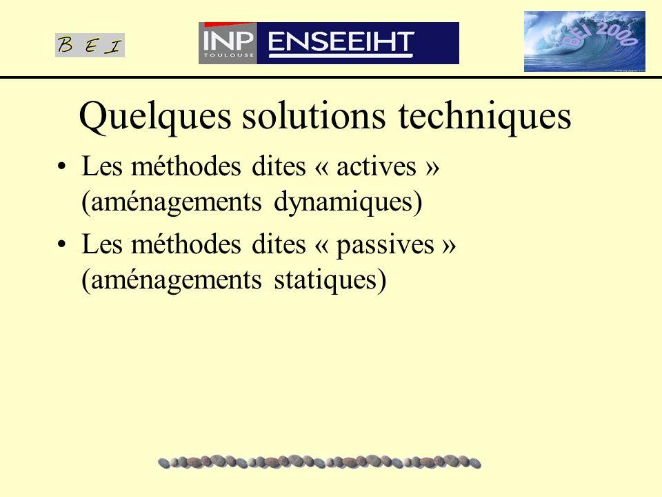 Quelques solutions techniques Les méthodes dites « actives » (aménagements dynamiques) Les méthodes dites « passives » (aménagements statiques)