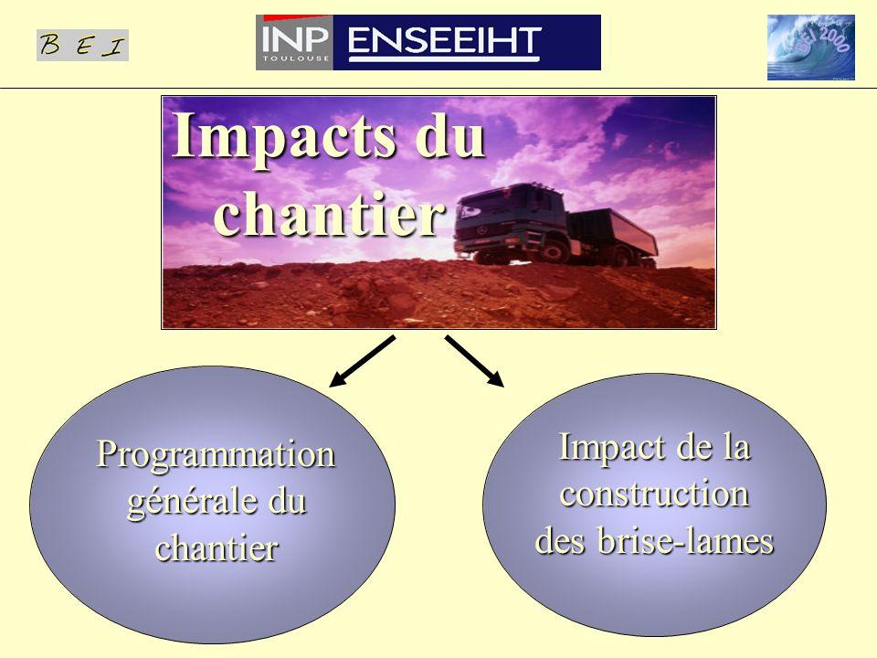 Impacts du chantier Programmation générale du chantier Impact de la construction des brise-lames