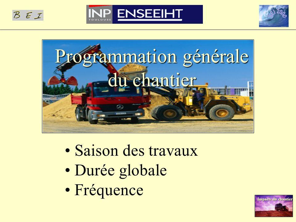 Programmation générale du chantier Saison des travaux Durée globale Fréquence Impacts du chantier