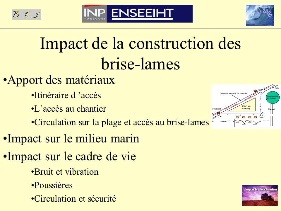 Impact de la construction des brise-lames Apport des matériaux Itinéraire d accès Laccès au chantier Circulation sur la plage et accès au brise-lames