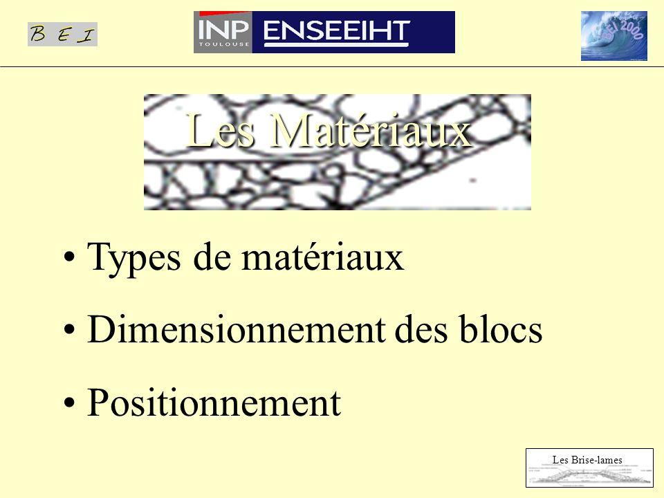 Types de matériaux Dimensionnement des blocs Positionnement Les Matériaux Les Brise-lames