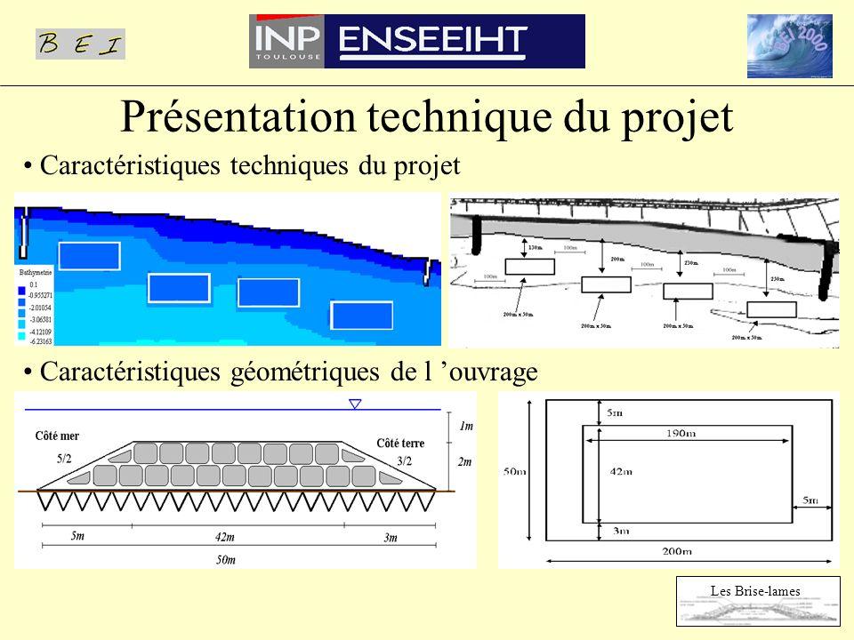 Présentation technique du projet Caractéristiques techniques du projet Caractéristiques géométriques de l ouvrage Les Brise-lames