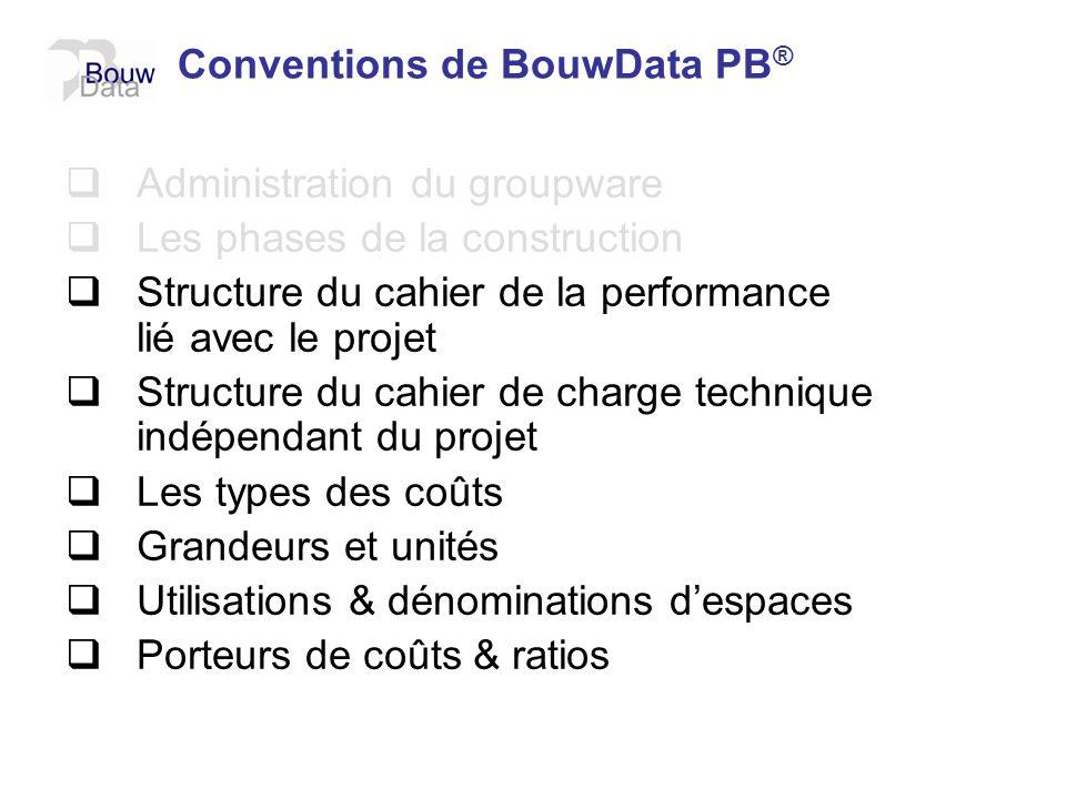 Conventions de BouwData PB ® Administration du groupware Les phases de la construction Structure du cahier de la performance lié avec le projet Struct