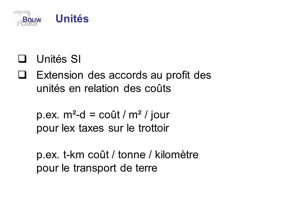 Unités Unités SI Extension des accords au profit des unités en relation des coûts p.ex. m²-d = coût / m² / jour pour lex taxes sur le trottoir p.ex. t