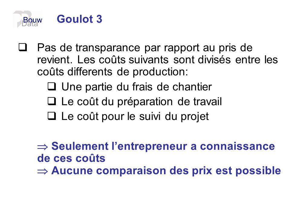 Goulot 3 Pas de transparance par rapport au pris de revient. Les coûts suivants sont divisés entre les coûts differents de production: Une partie du f