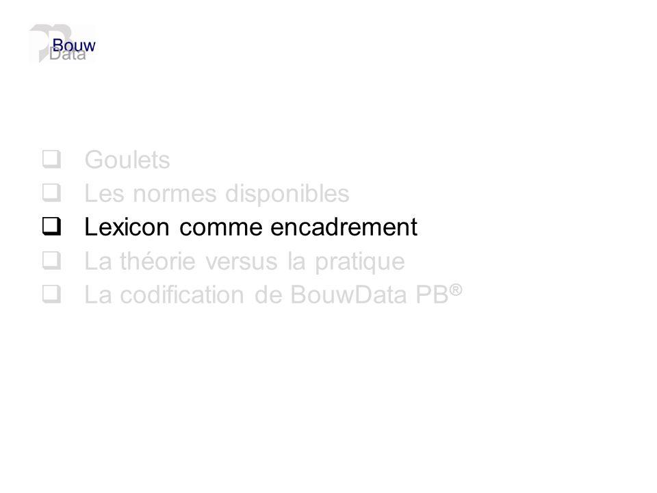 Goulets Les normes disponibles Lexicon comme encadrement La théorie versus la pratique La codification de BouwData PB ®