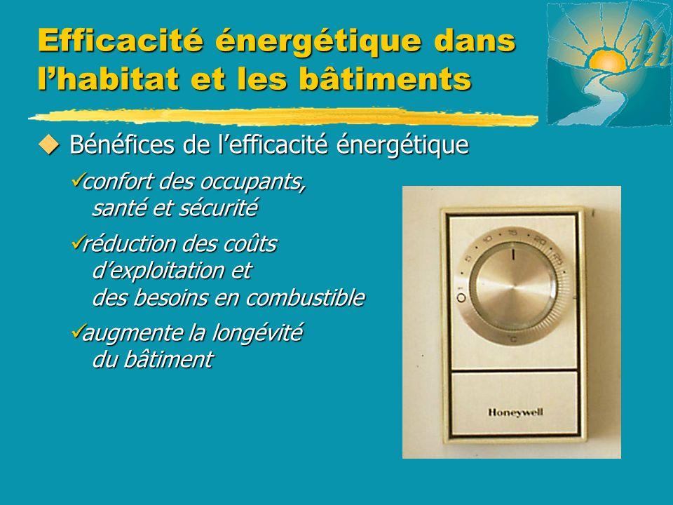 u Bénéfices de lefficacité énergétique confort des occupants, santé et sécurité confort des occupants, santé et sécurité réduction des coûts dexploita