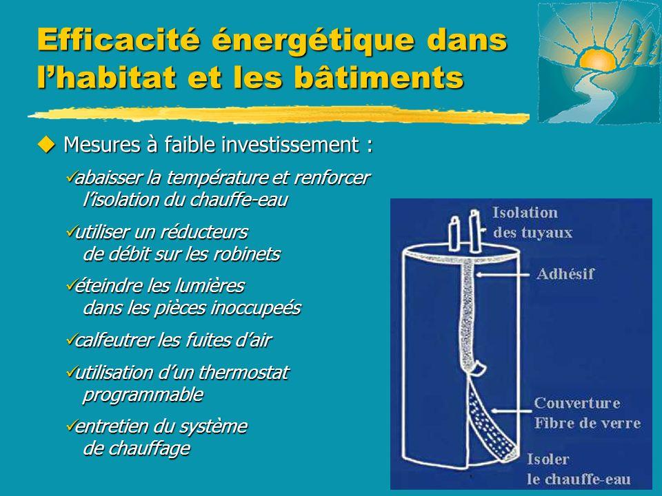u Mesures à faible investissement : abaisser la température et renforcer lisolation du chauffe-eau abaisser la température et renforcer lisolation du