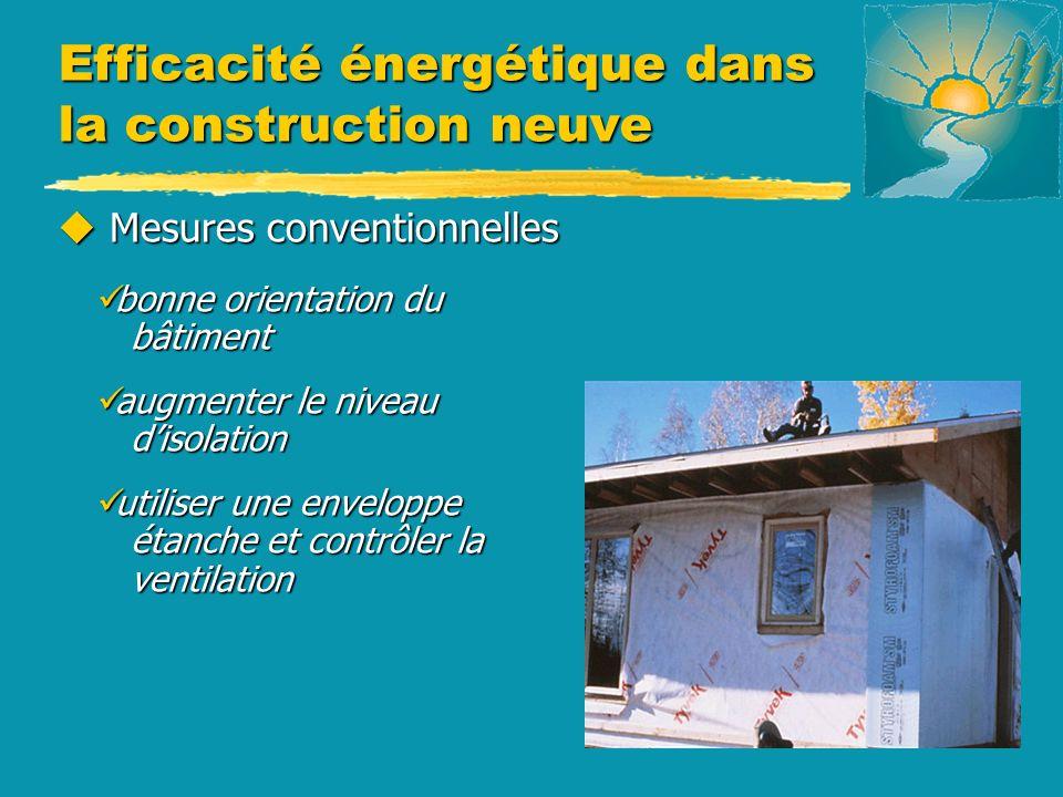Efficacité énergétique dans la construction neuve u Mesures conventionnelles bonne orientation du bâtiment bonne orientation du bâtiment augmenter le niveau disolation augmenter le niveau disolation utiliser une enveloppe étanche et contrôler la ventilation utiliser une enveloppe étanche et contrôler la ventilation