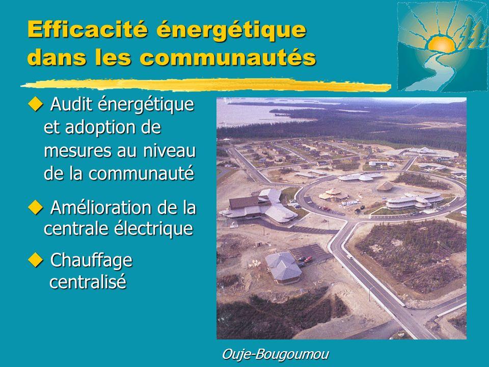 Efficacité énergétique dans les communautés u Audit énergétique et adoption de mesures au niveau de la communauté u Amélioration de la centrale électr