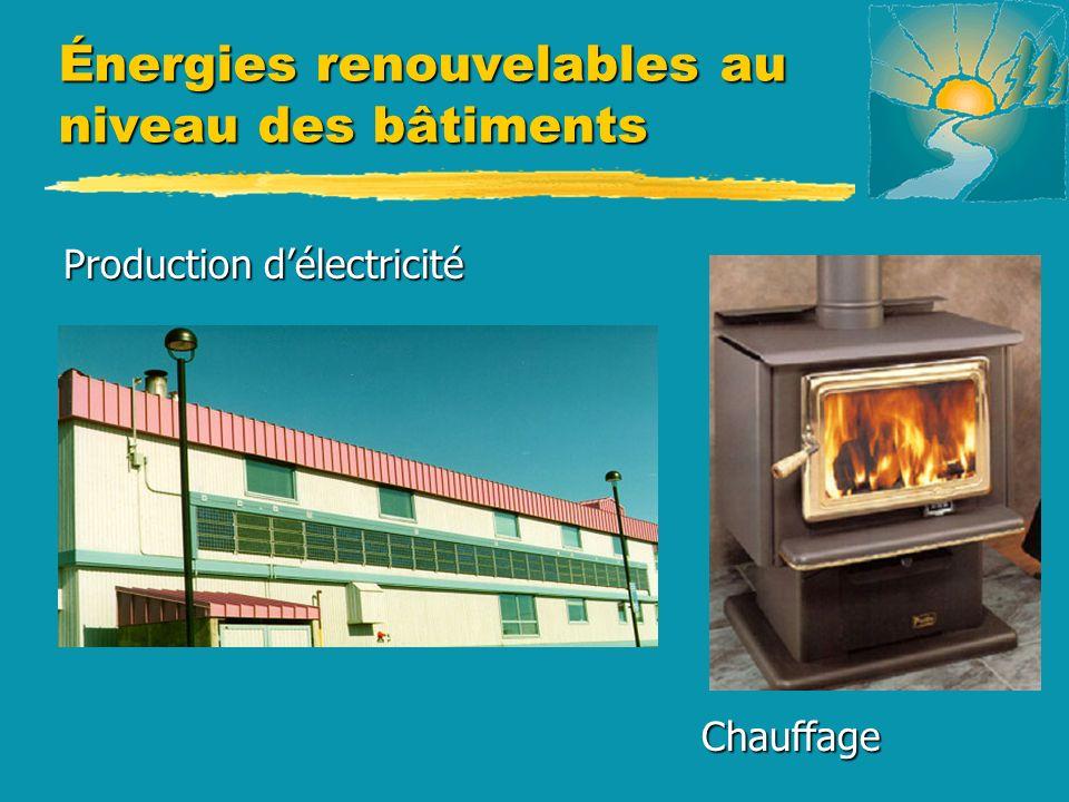 Énergies renouvelables au niveau des bâtiments Production délectricité Production délectricité Chauffage Chauffage