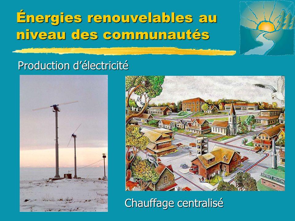 Énergies renouvelables au niveau des communautés Chauffage centralisé Chauffage centralisé Production délectricité