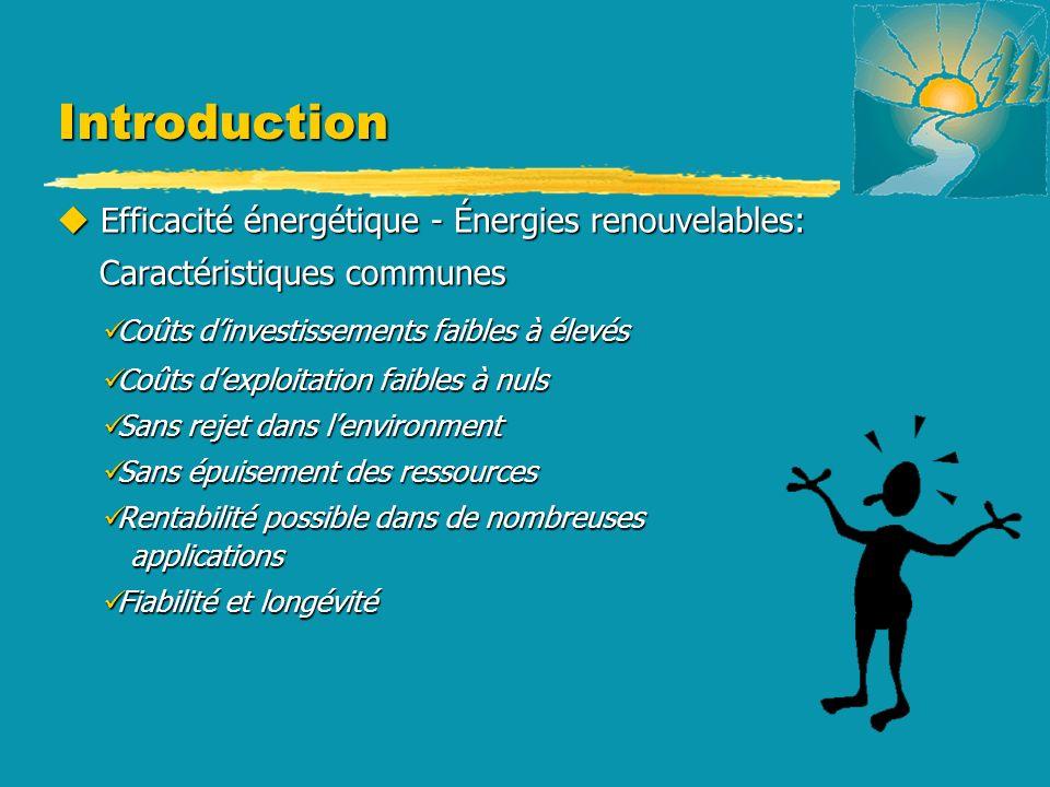 Introduction u Efficacité énergétique - Énergies renouvelables: Caractéristiques communes Caractéristiques communes Coûts dinvestissements faibles à é