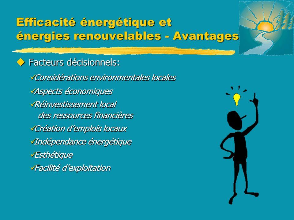 Efficacité énergétique et énergies renouvelables - Avantages u Facteurs décisionnels: Considérations environmentales locales Considérations environmen