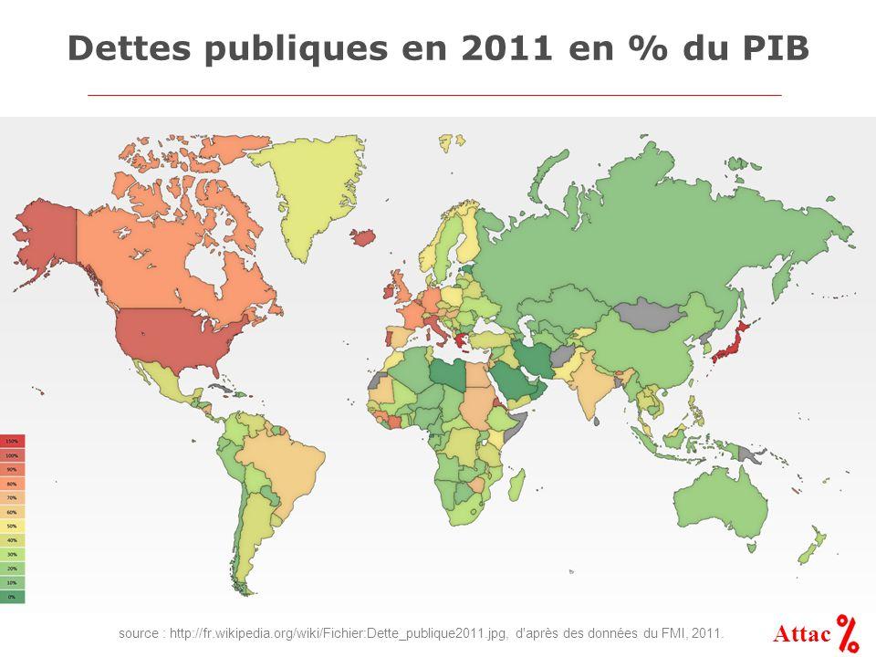 Attac Dettes publiques en 2011 en % du PIB source : http://fr.wikipedia.org/wiki/Fichier:Dette_publique2011.jpg, d'après des données du FMI, 2011.