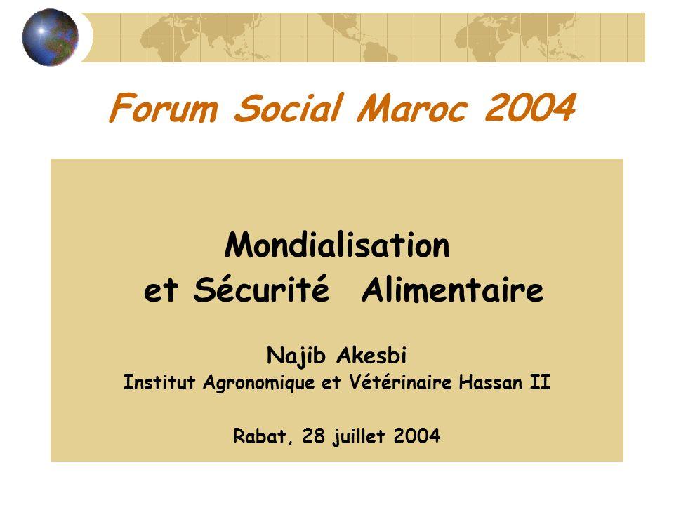 Forum Social Maroc 2004 Mondialisation et Sécurité Alimentaire Najib Akesbi Institut Agronomique et Vétérinaire Hassan II Rabat, 28 juillet 2004