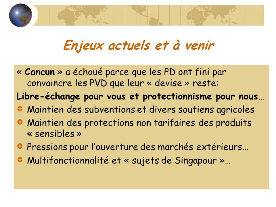 Enjeux actuels et à venir « Cancun » a échoué parce que les PD ont fini par convaincre les PVD que leur « devise » reste: Libre-échange pour vous et p
