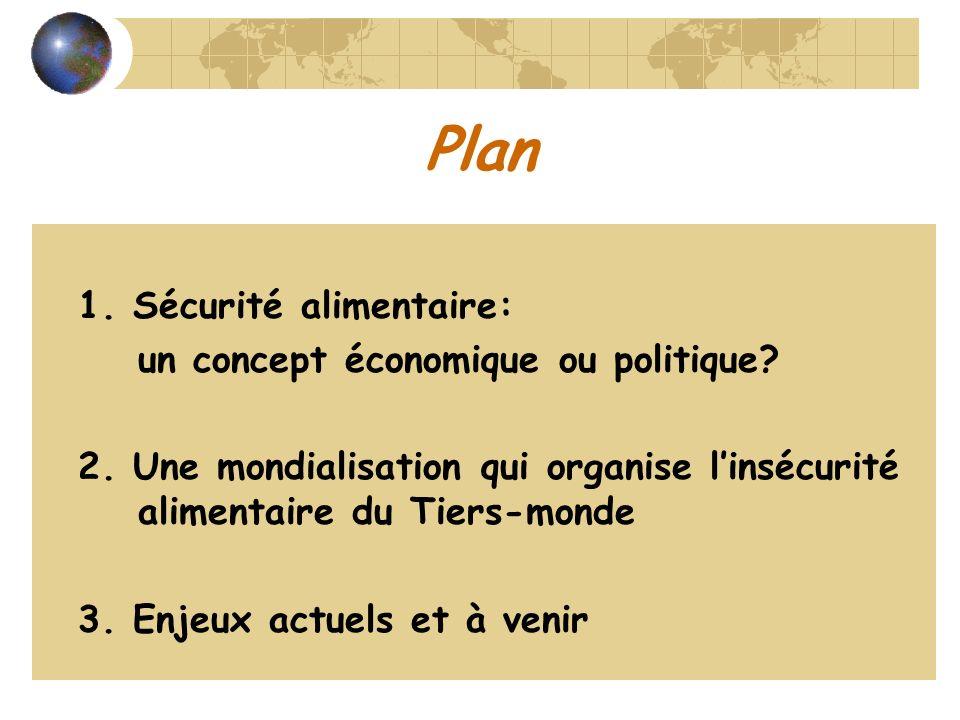 Plan 1. Sécurité alimentaire: un concept économique ou politique? 2. Une mondialisation qui organise linsécurité alimentaire du Tiers-monde 3. Enjeux