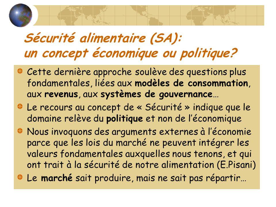 Sécurité alimentaire (SA): un concept économique ou politique? Cette dernière approche soulève des questions plus fondamentales, liées aux modèles de