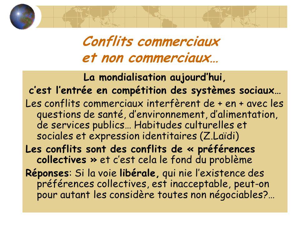 Conflits commerciaux et non commerciaux… La mondialisation aujourdhui, cest lentrée en compétition des systèmes sociaux… Les conflits commerciaux inte