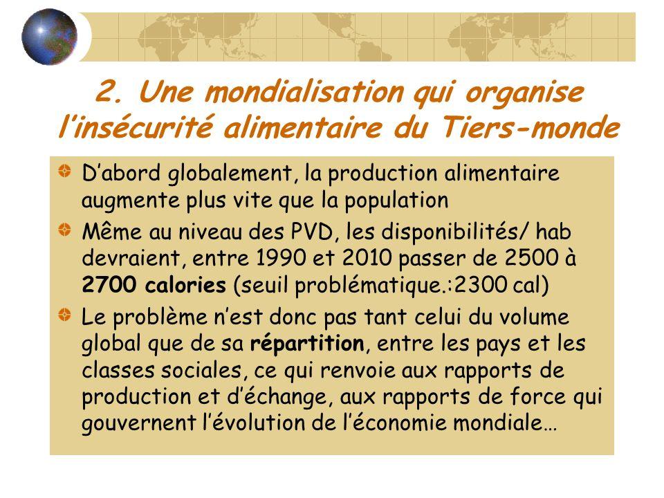 2. Une mondialisation qui organise linsécurité alimentaire du Tiers-monde Dabord globalement, la production alimentaire augmente plus vite que la popu