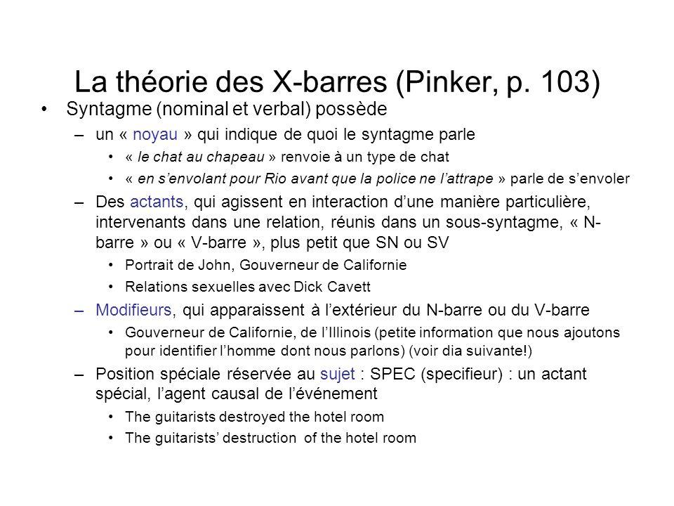 La théorie des X-barres (Pinker, p. 103) Syntagme (nominal et verbal) possède –un « noyau » qui indique de quoi le syntagme parle « le chat au chapeau