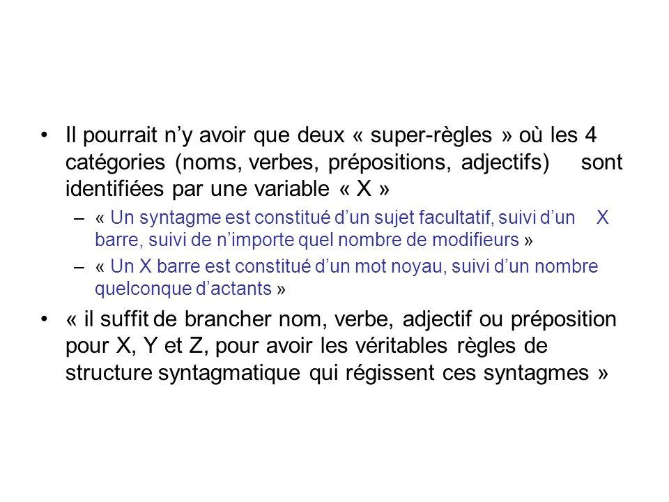 Il pourrait ny avoir que deux « super-règles » où les 4 catégories (noms, verbes, prépositions, adjectifs) sont identifiées par une variable « X » –«