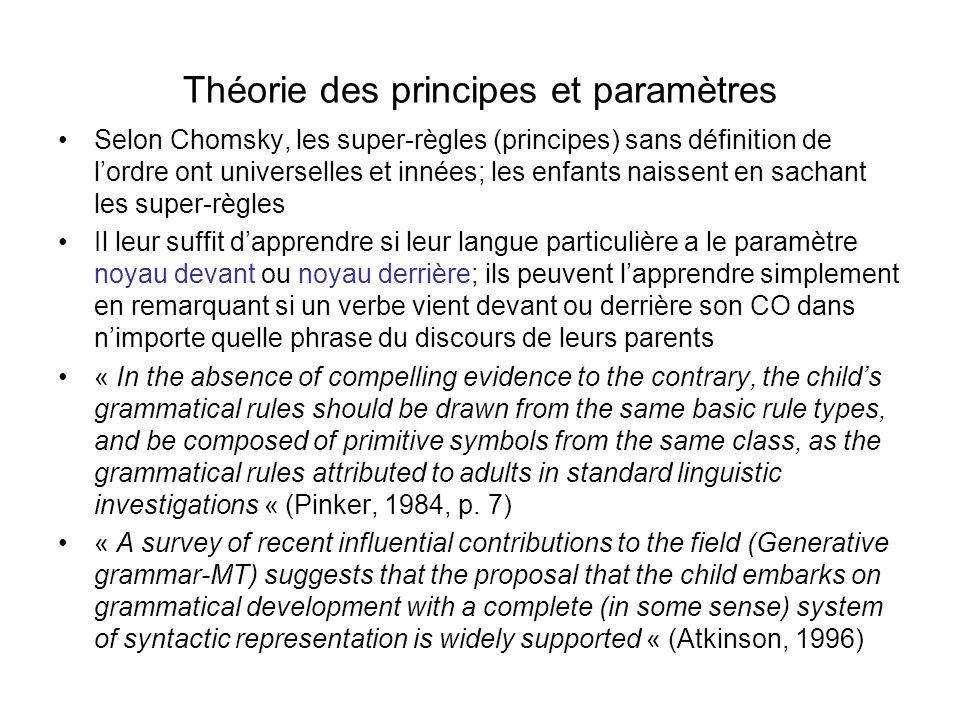 Théorie des principes et paramètres Selon Chomsky, les super-règles (principes) sans définition de lordre ont universelles et innées; les enfants nais