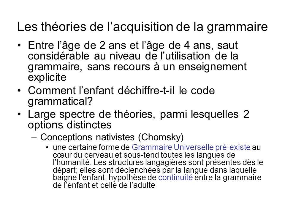 Les théories de lacquisition de la grammaire Entre lâge de 2 ans et lâge de 4 ans, saut considérable au niveau de lutilisation de la grammaire, sans r