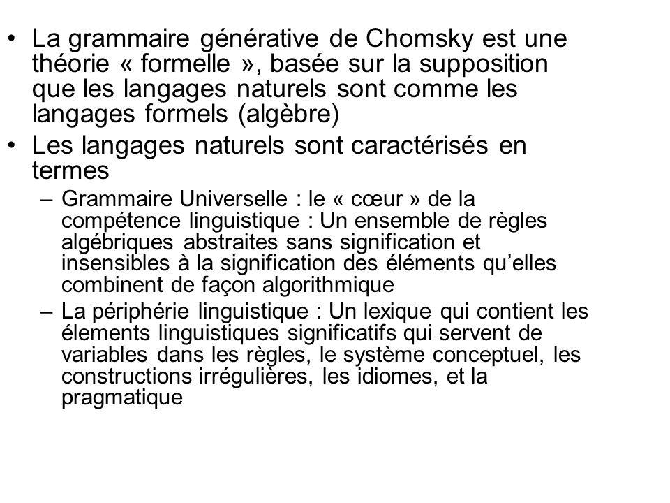La grammaire générative de Chomsky est une théorie « formelle », basée sur la supposition que les langages naturels sont comme les langages formels (a