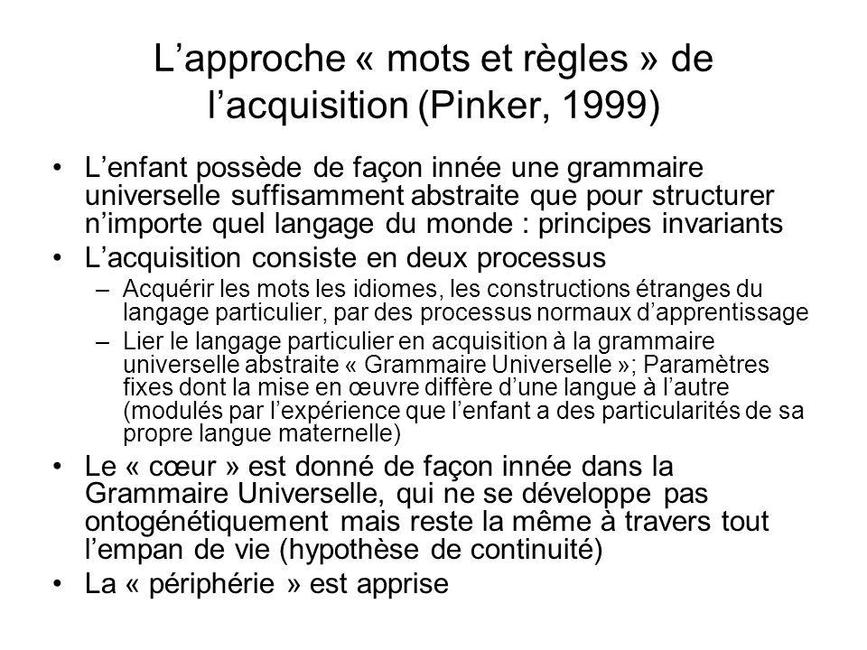 Lapproche « mots et règles » de lacquisition (Pinker, 1999) Lenfant possède de façon innée une grammaire universelle suffisamment abstraite que pour s